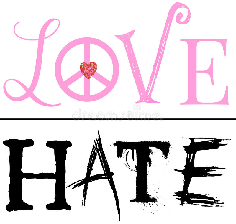 A Fine Line Between Love and Hate. An illustration using the words Love and Hate seperated by a fine line and isolated on a white background to represent the stock illustration