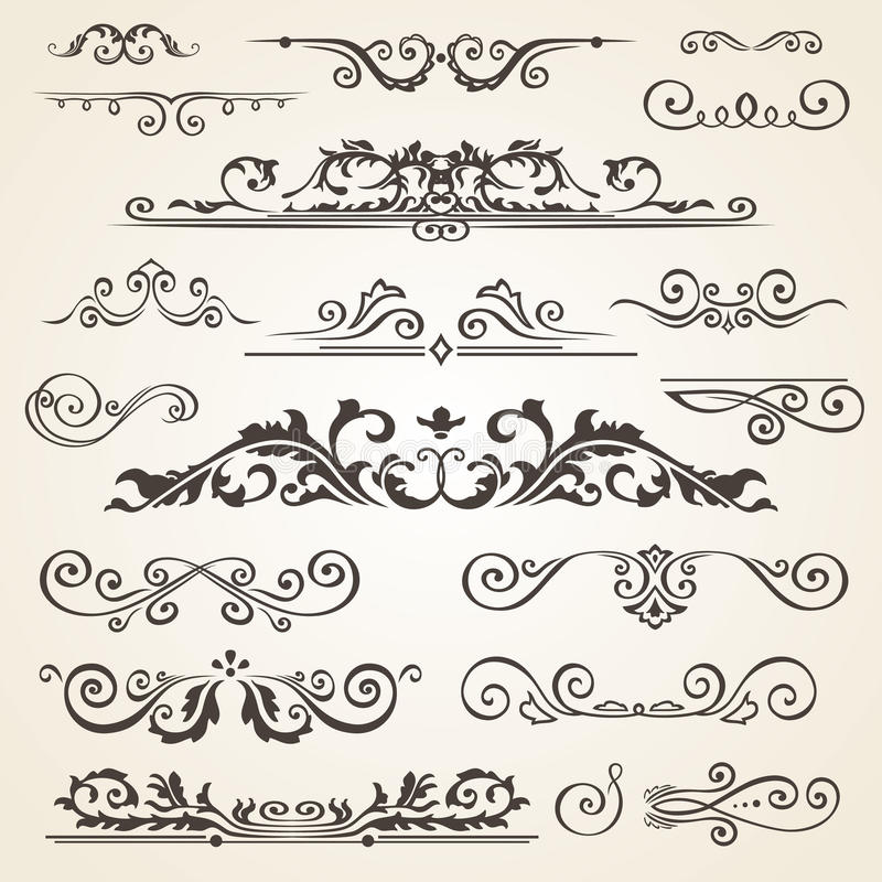 Fine line set of design elements isolated on light background. Vector frame element collection. Book dividers royalty free illustration