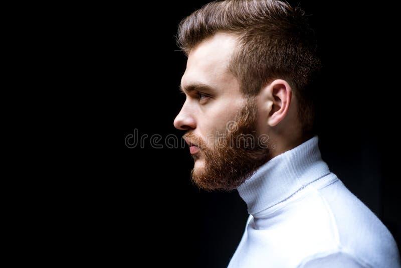 Fine macho barbuta dell'uomo sul fronte Concetto del parrucchiere Governare della barba Barba di stile dei pantaloni a vita bassa fotografie stock libere da diritti