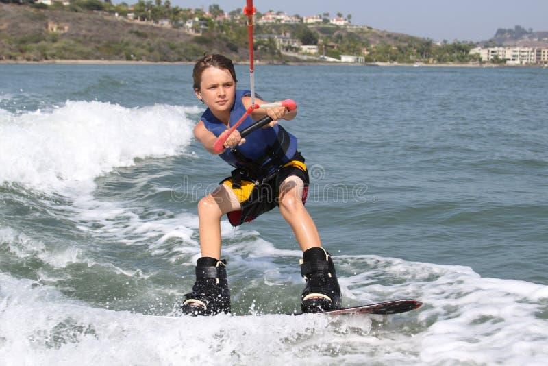 Fine massima di Wakeboarding in su fotografie stock libere da diritti