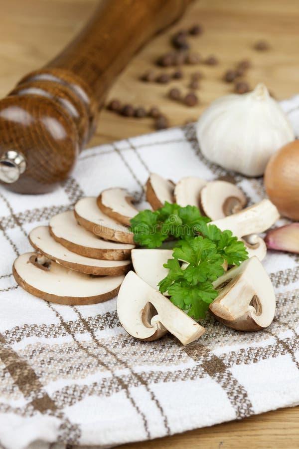 Fine mushroom slices royalty free stock photo