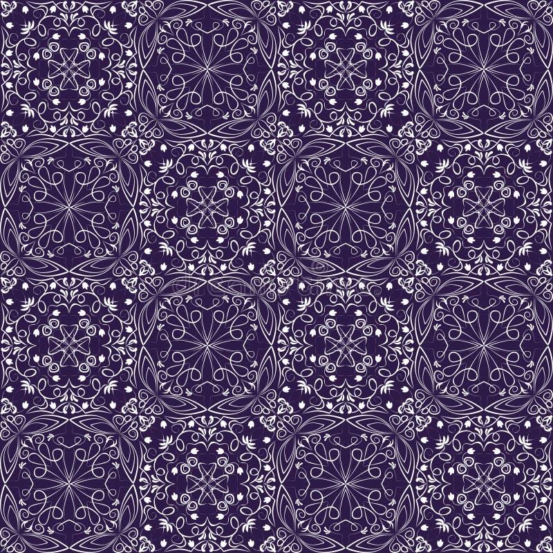 Fine oriental with white filigree calligraphic ornament on deep purple background. Vector symmetric geometric patterns, vetor eps10 stock illustration