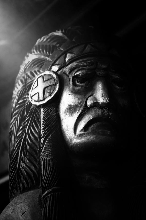 Fine Art Photography, Wooden Indian. Fine are photography of a wooden Indian. The black and white image creates a surreal look and feel stock image
