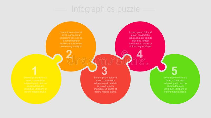 Five pieces jigsaw puzzle circles info graphic. Fine pieces puzzle circles diagram. Circles business presentation infographic. 5 steps, parts, pieces of process royalty free illustration