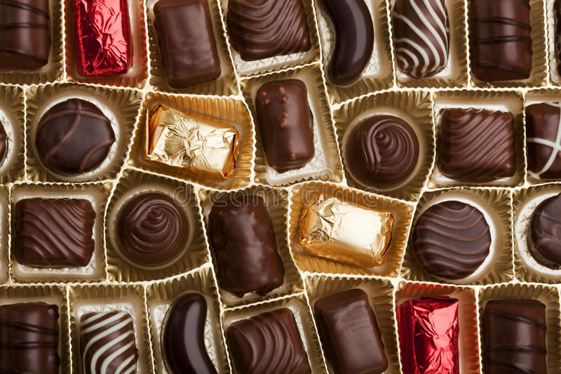 Download Fine pralines in a box stock photo. Image of wrapped - 14132854