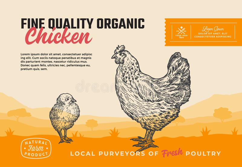 Fine Quality Organic Poultry. Abstract Vector Meat Packaging Design or Label. Modern Typography and Hand Drawn Chicken royalty free illustration