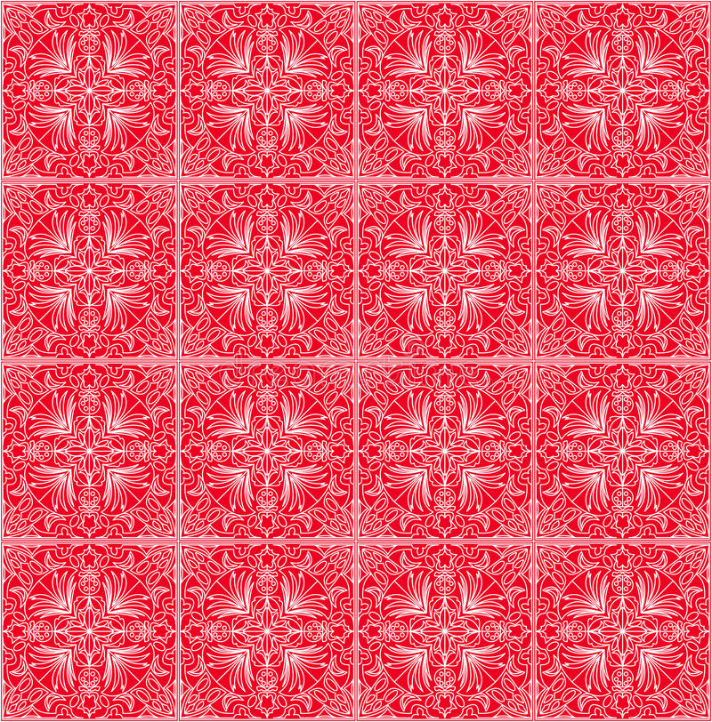 Fine red patterns, filigree geometric lace ornament, tile with repeatable ornate elements in victorian style. Vintage folklore motif, eps10 vector vector illustration