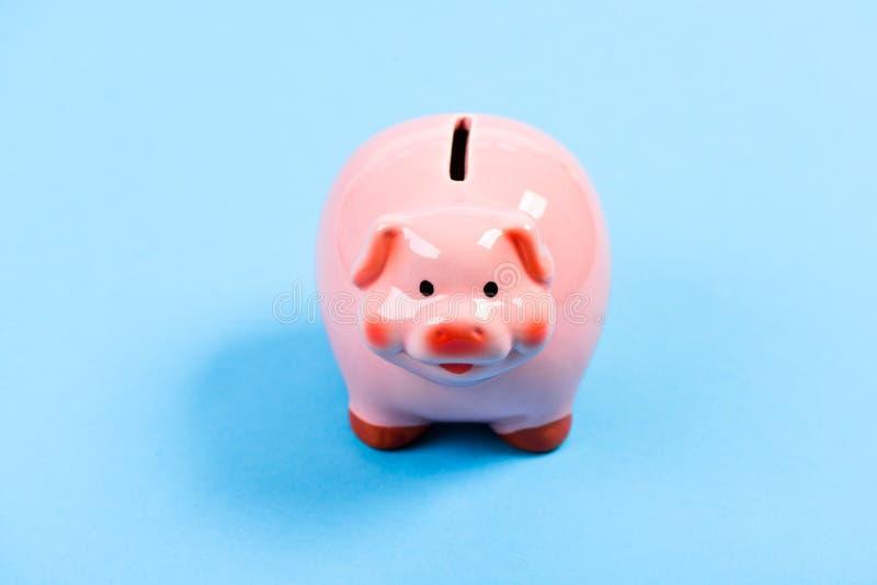 Fine rosa adorabile del maiale del porcellino salvadanaio su Contabilità e bilancio familiare Finanze e banca di investimenti Dep immagini stock