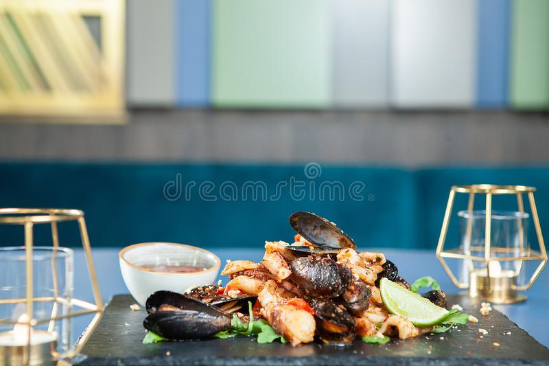 Fine seafood cuisine in luxury restaurant. Mediterranean food stock image
