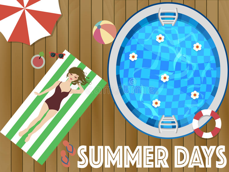 Fine settimana di giorni di estate con il wooman illustrazione di stock