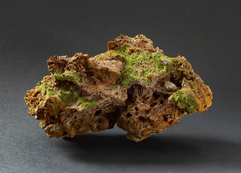 Fine and sharp green crystals of pyromorphite from France. Member of apatite group. A mineral species composed of lead chlorophosphate royalty free stock images