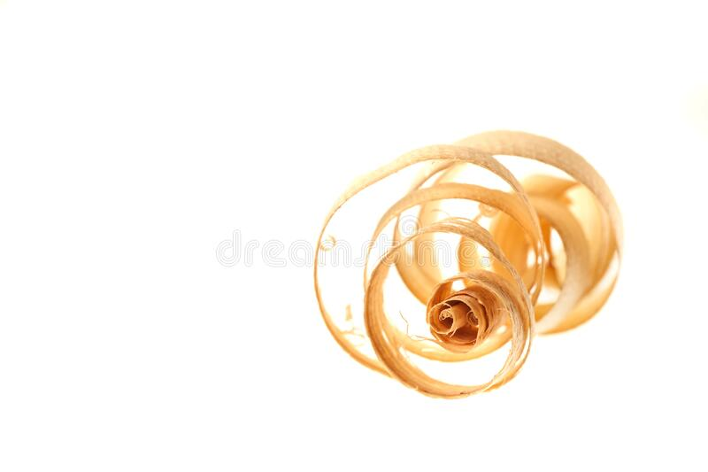 Fine single curled planer span on white horizontal stock image
