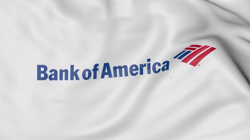 Fine su della bandiera d'ondeggiamento con il logo della banca di America, rappresentazione 3D royalty illustrazione gratis