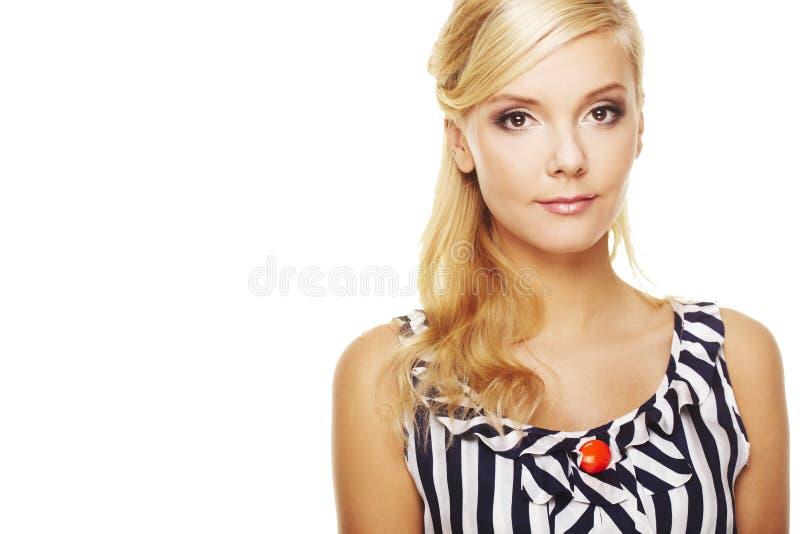 Fine in su di giovane signora sorridente di affari fotografia stock libera da diritti