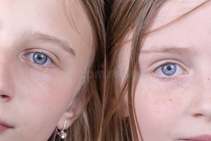 Fine su due occhi della ragazza, stanno esaminando la macchina fotografica, i bambini del ritratto delle coppie, macro immagini stock