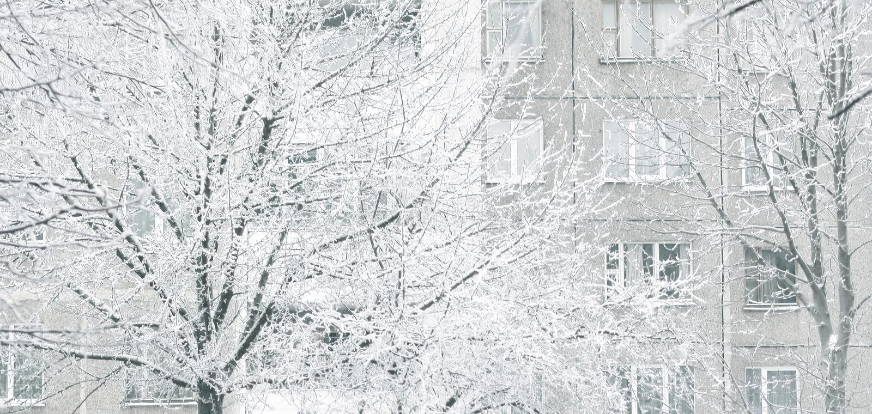 Fine in su Paesaggio di inverno della città Gli alberi della brina immagine stock libera da diritti