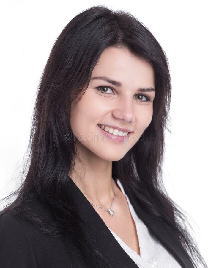 Fine in su Ritratto di giovane donna sorridente di affari fotografia stock