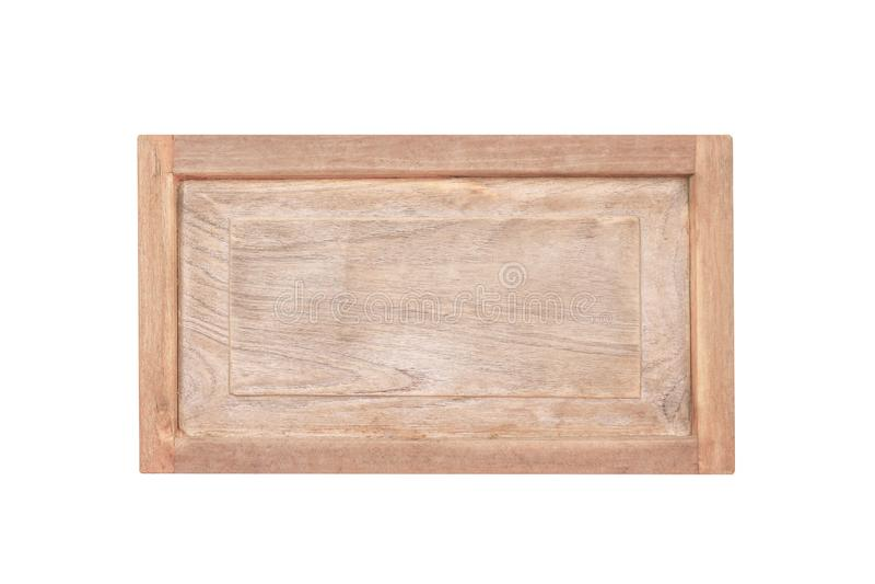 Fine su vecchia struttura di legno vuota del segno nei modelli naturali isolati su fondo bianco con il percorso di ritaglio fotografia stock