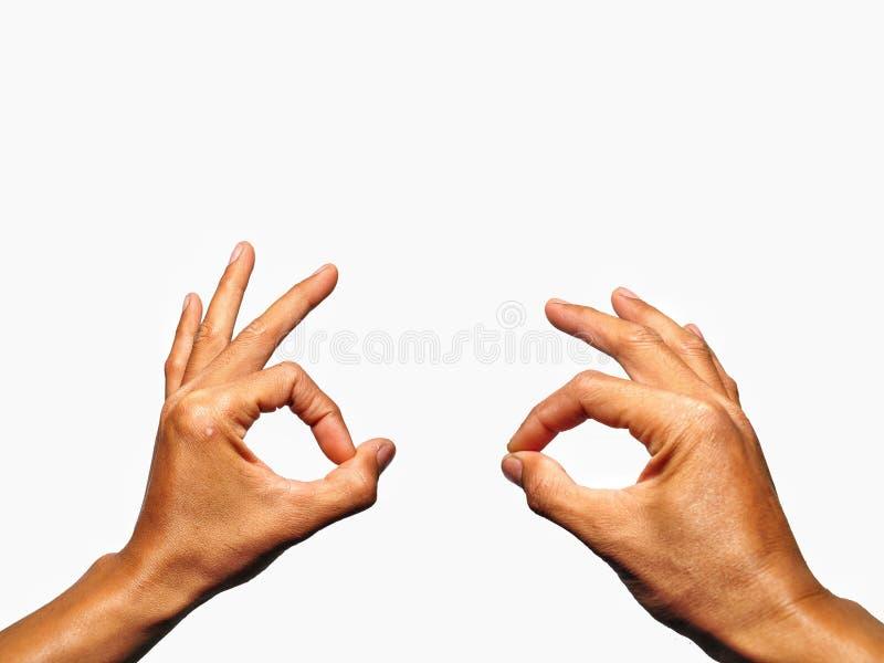Fine sul gesto di mano di APPROVAZIONE isolato su backdround bianco fotografia stock libera da diritti