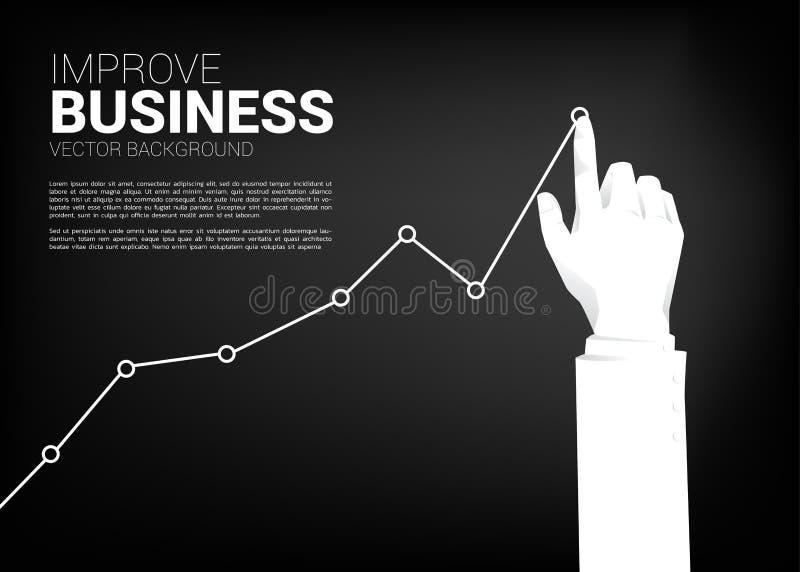 Fine sul grafico delle azione di spinta della mano dell'uomo d'affari pi? su illustrazione vettoriale
