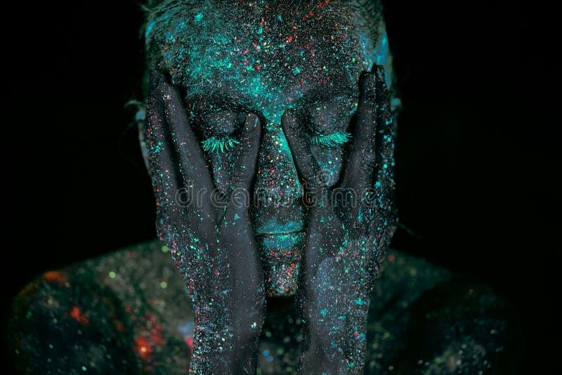 Fine sullo spazio cosmico astratto UV del ritratto fotografia stock libera da diritti