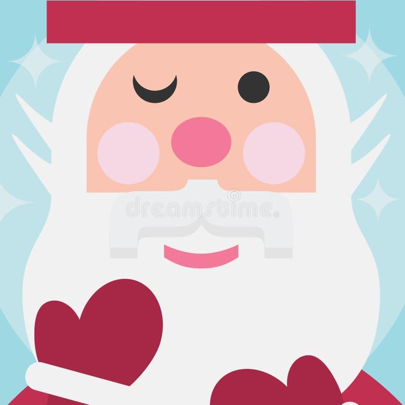 Fine sveglia di Santa Claus sulla cartolina di Natale del fronte illustrazione vettoriale