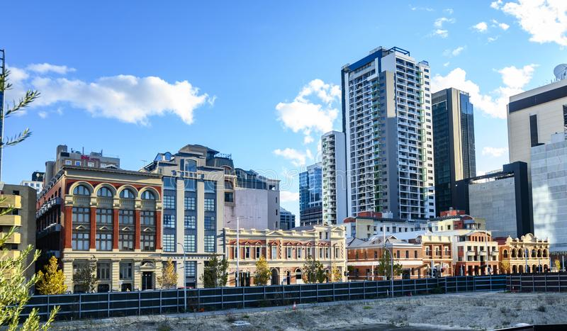 View from Yagan Square. A fine view of historic and modern buildings in the centre of Perth, Western Australia. This is the view from Yagan Square of Wellington royalty free stock images