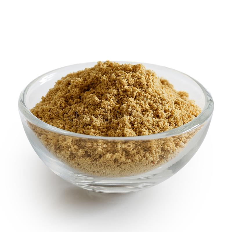 Finely ground ginger in glass bowl. royalty free stock image