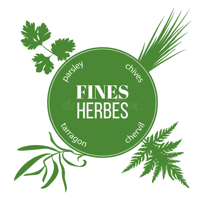 Fines herbes flat silhouettes vector illustration