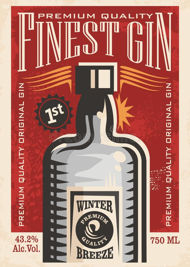 Finest gin retro poster ad with gin bottle on old paper texture. Promotional banner for one of the most popular beverages. Vector art illustration vector illustration