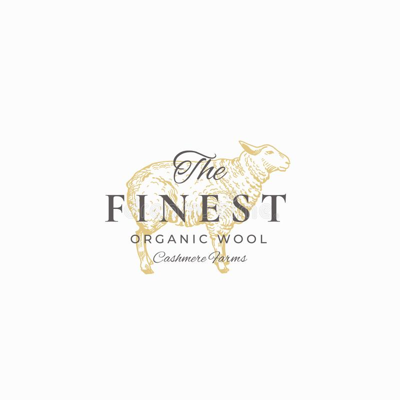 The Finest Wool. Abstract Vector Sign, Symbol or Logo Template. Hand Drawn Sheep Sketch Sillhouette with Retro. Typography. Vintage Luxury Cashmere Vector vector illustration