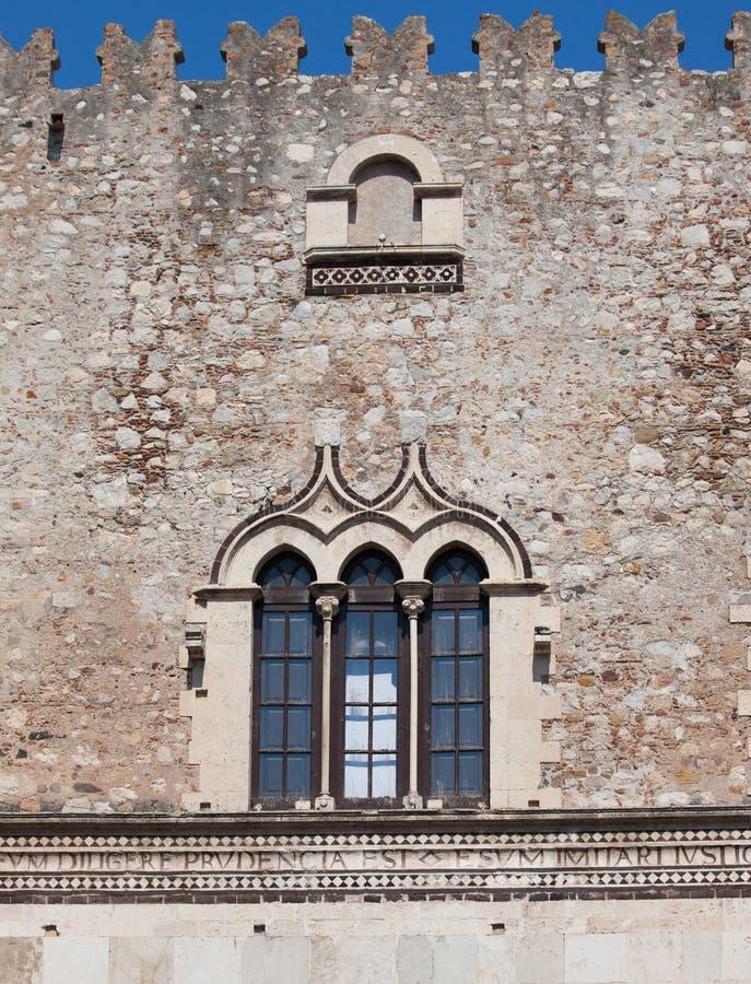 Finestra Antica E Parete Di Pietra Di Taormina Sicilia