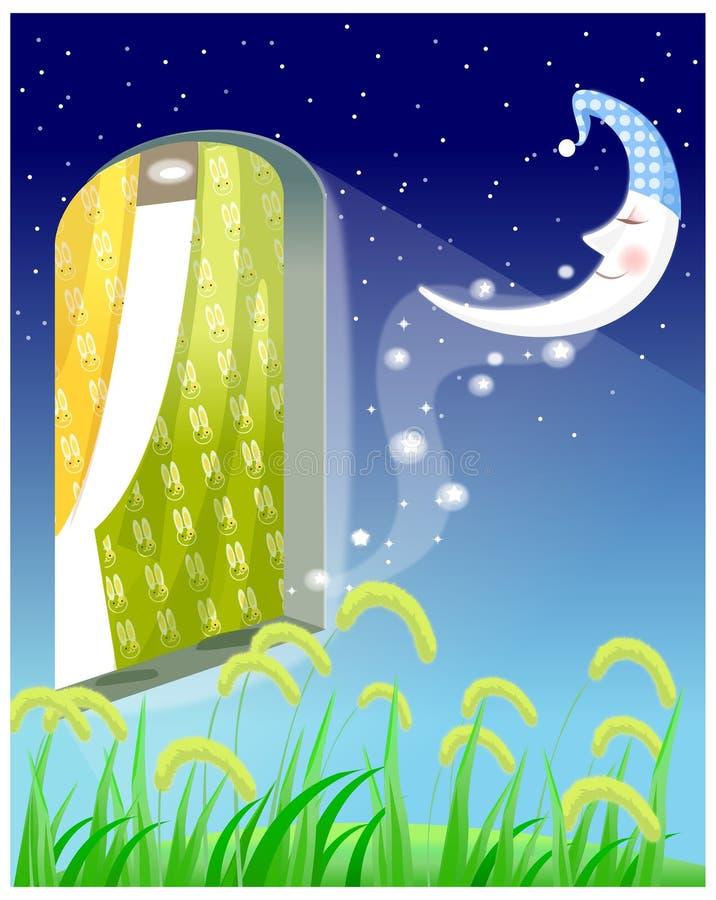 Finestra aperta alla notte illustrazione di stock for Disegno di finestra aperta