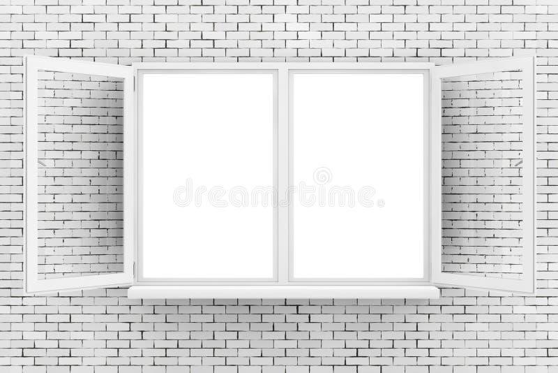 Finestra aperta bianco sul muro di mattoni rappresentazione 3d illustrazione di stock