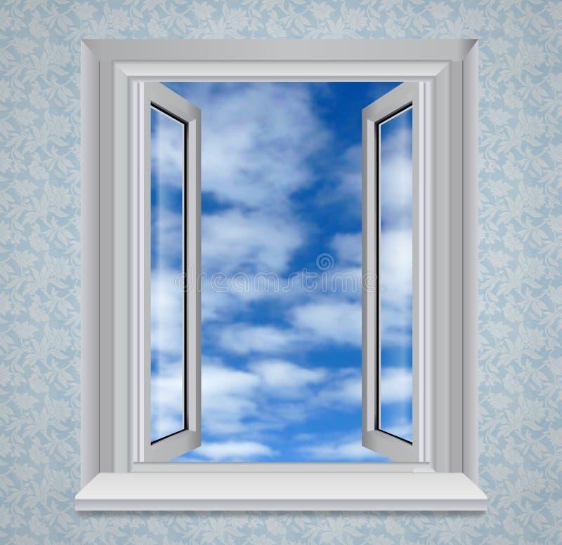 Finestra aperta a cielo blu illustrazione vettoriale