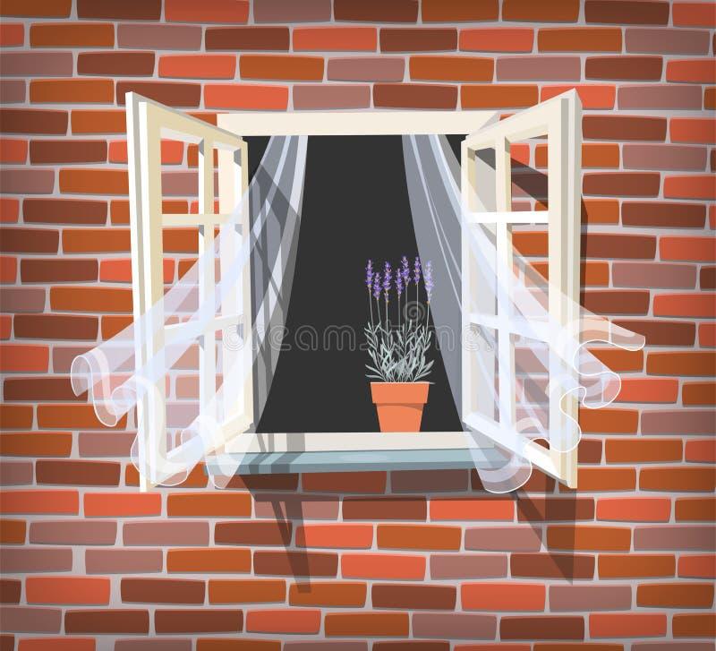 Finestra aperta con lavanda illustrazione vettoriale for Disegno di finestra aperta