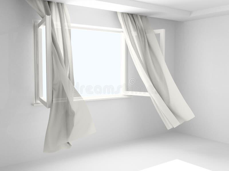 Finestra aperta con le tende fotografie stock