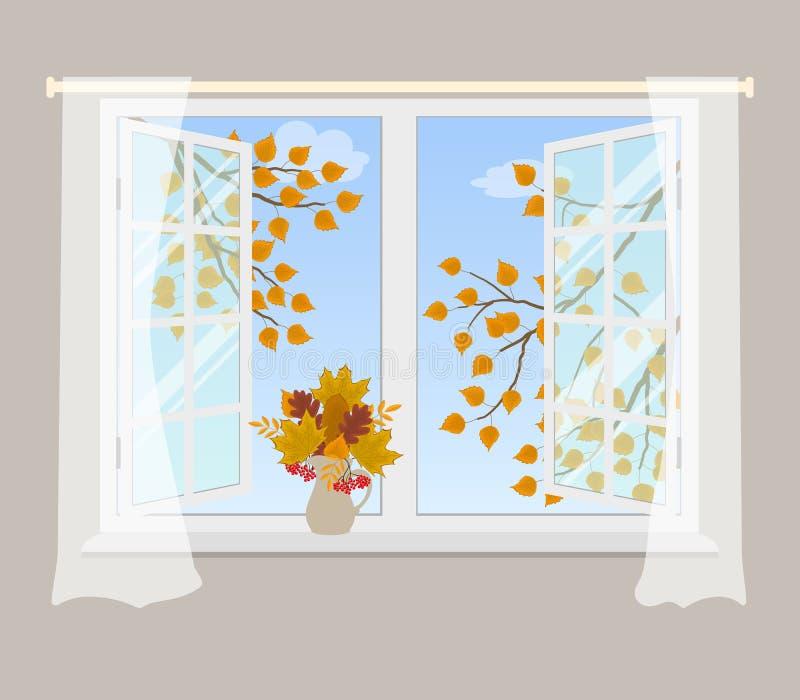 Finestra aperta con le tende su un fondo grigio illustrazione vettoriale