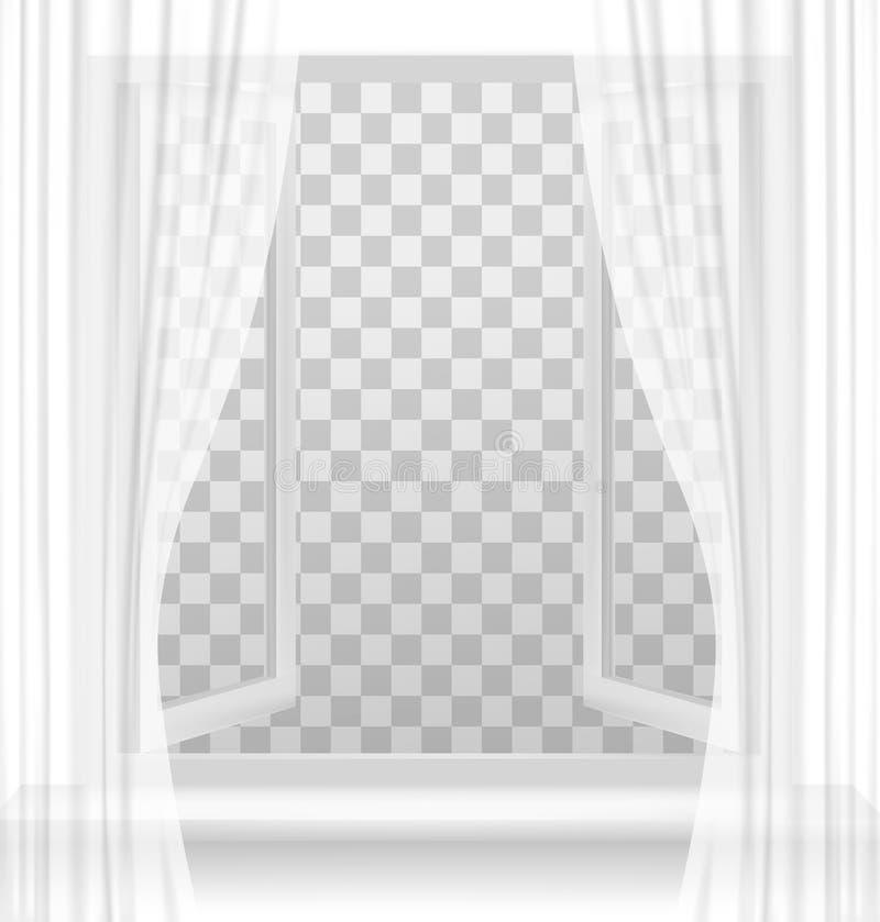 Finestra aperta con le tende su un fondo trasparente illustrazione di stock