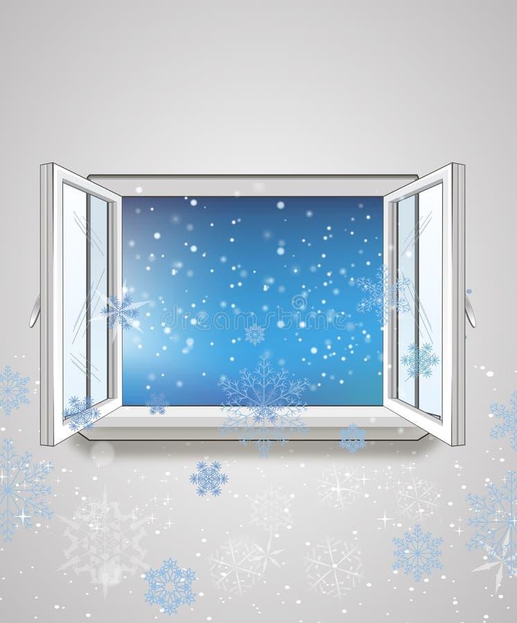 Finestra aperta e neve illustrazione di stock for Disegno di finestra aperta