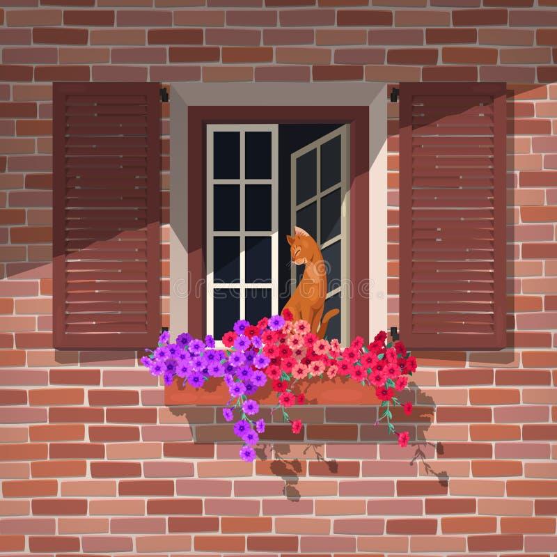Finestra aperta ed il gatto illustrazione vettoriale