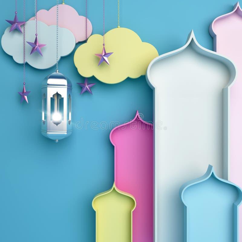 Finestra araba variopinta, nuvola, lanterna, stella su fondo blu illustrazione vettoriale