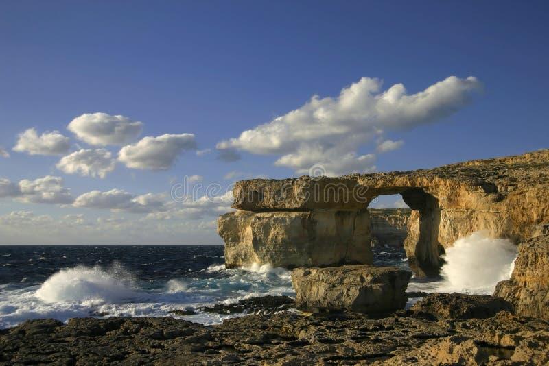 Finestra azzurrata, isola di Gozo, Mal immagine stock libera da diritti
