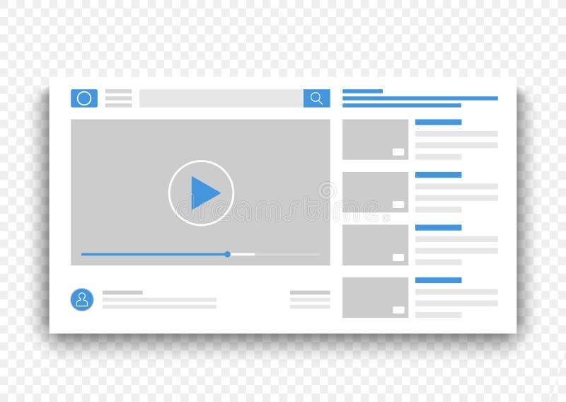 Finestra blu dell'interfaccia del riproduttore video del browser Film online sull'illustrazione di vettore di concetto del sito W royalty illustrazione gratis