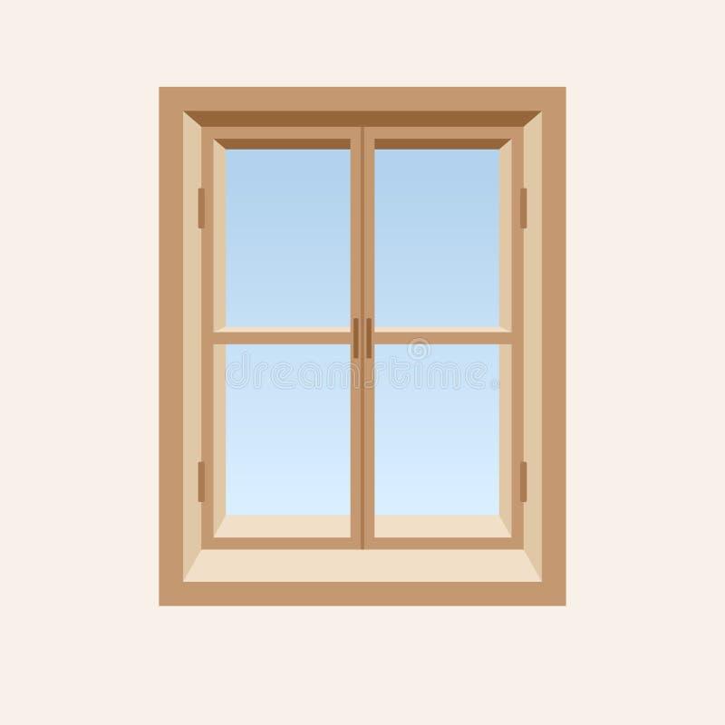 Finestra chiusa di legno. illustrazione di stock