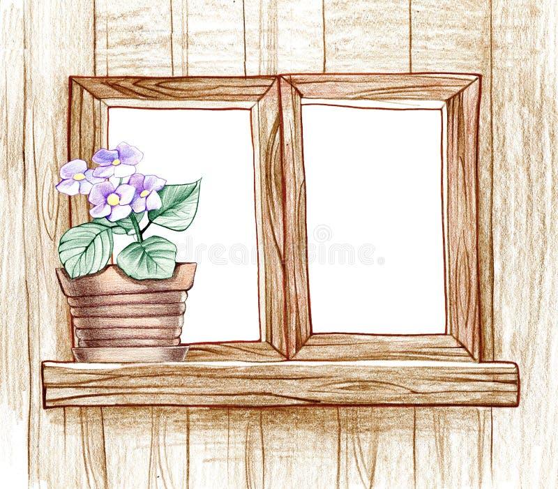 finestra con i vasi da fiori illustrazione di stock