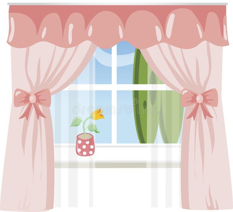 Finestra con le tende dentellare illustrazione vettoriale