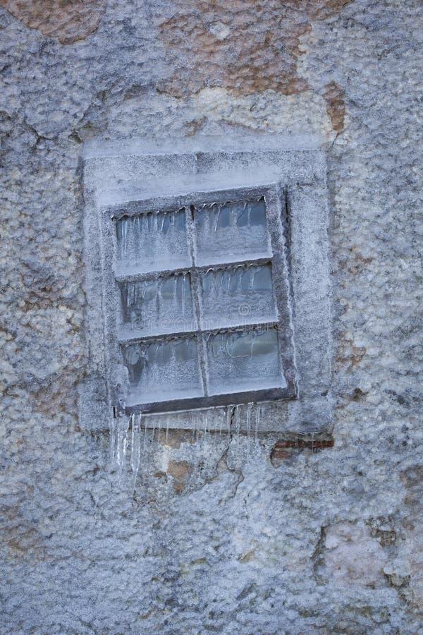 Finestra congelata immagine stock