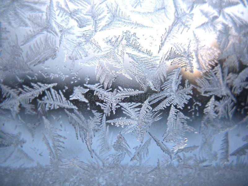 Finestra congelata di inverno fotografia stock