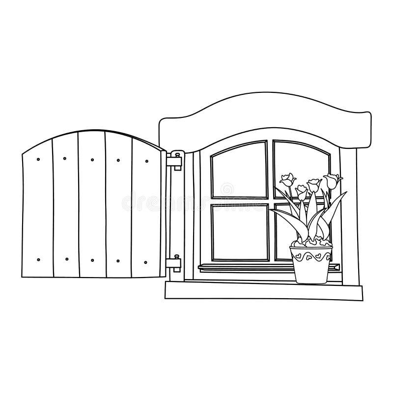 Finestra d'annata con i fiori di fioritura in vaso illustrazione di stock